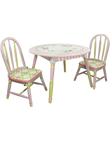 58a4e9aeddf0 Fantasy Fields - Crackled Rose Thematic Hand Crafted Kids Wooden Table and  2 Chairs Set