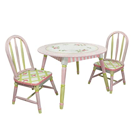 Fantasy Fields Crackled Rose Thematic Hand Crafted Kids Wooden Table And 2  Chairs Set | Imagination