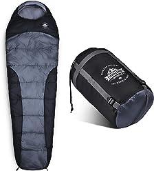 Lumaland Outdoor Schlafsack Mumienschlafsack, 230 x 80 cm, inklusive Packsack, 50 x 25 cm gepackt in verschiedenen Farben