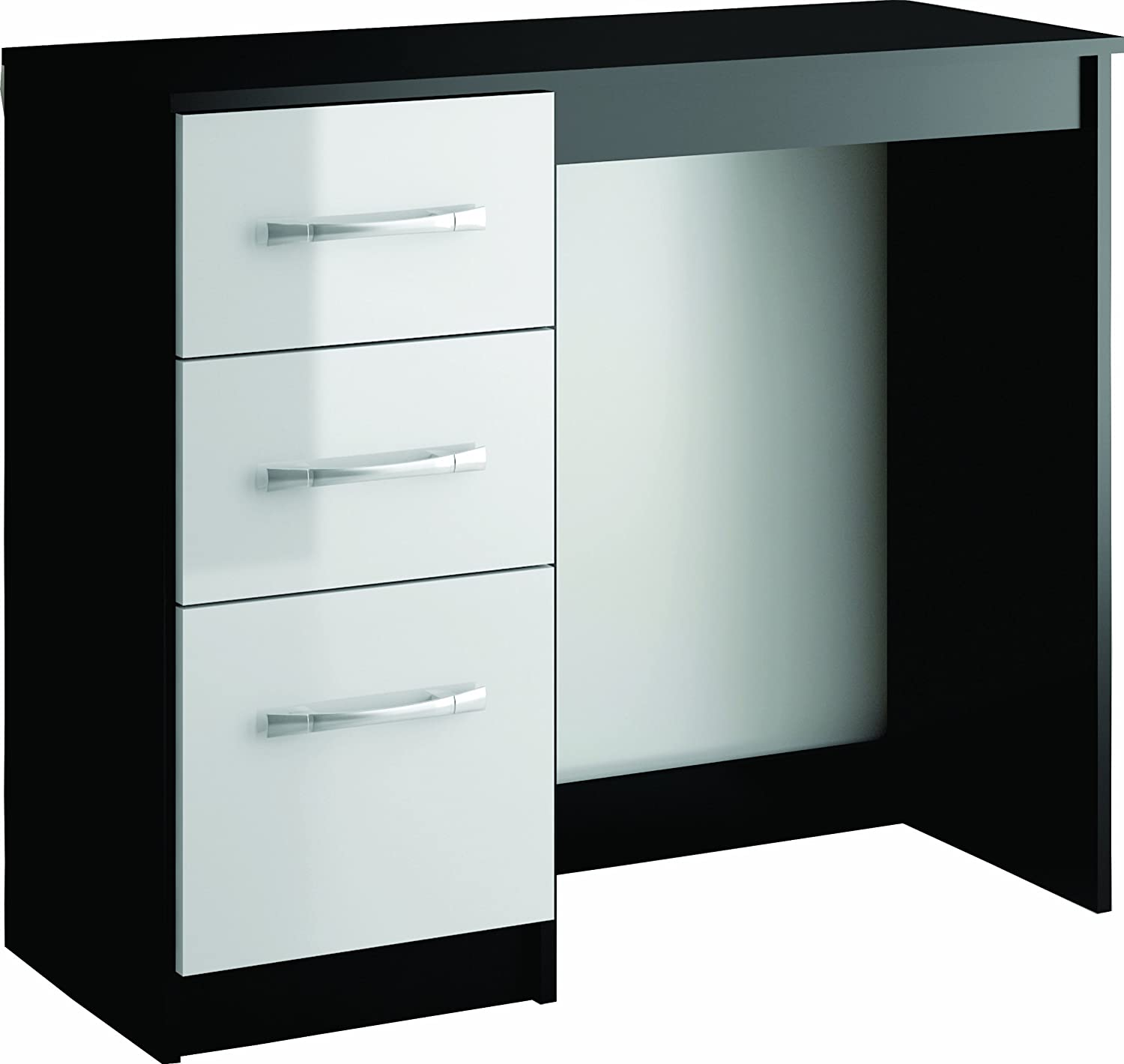 Great Birlea Lynx 3 Drawer Dressing Table/Desk   High Gloss, Black And White:  Amazon.co.uk: Kitchen U0026 Home