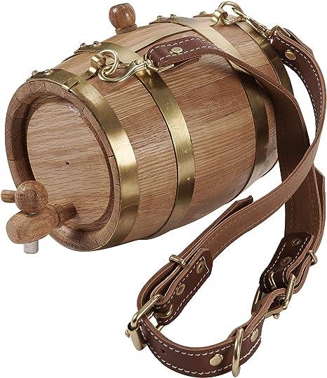 KegWorks Collar de Perro de San Bernardo Barril de Rescate de Madera – Bandas de latón – 1 litro de Capacidad