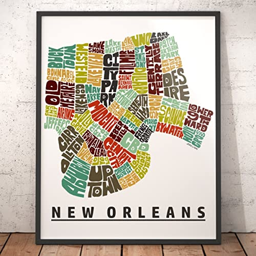 photo about Printable Maps of New Orleans called Contemporary ORLEANS regional Map Artwork Print, Exceptional Clean Orleans Decor, Artist signed typography map artwork print collection, Countless measurements accessible remarkably