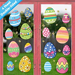Ivenf Easter Decorations Window Clings Decals Decor, Extra Large Kids School Home Office Easter Eggs Flowers Accessories Party Supplies Gifts, 4 Sheet 45 pcs