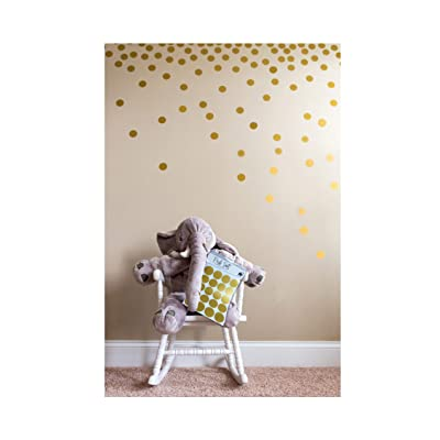 Posh Dots Metallic Gold Circle Wall Decal Stickers for Festive Baby Nursery Kids Room Trendy Cute Fun (200 Decals) Vinyl Removable Round Polka Dot Decor Safe for Wall Paint Confetti: Home & Kitchen