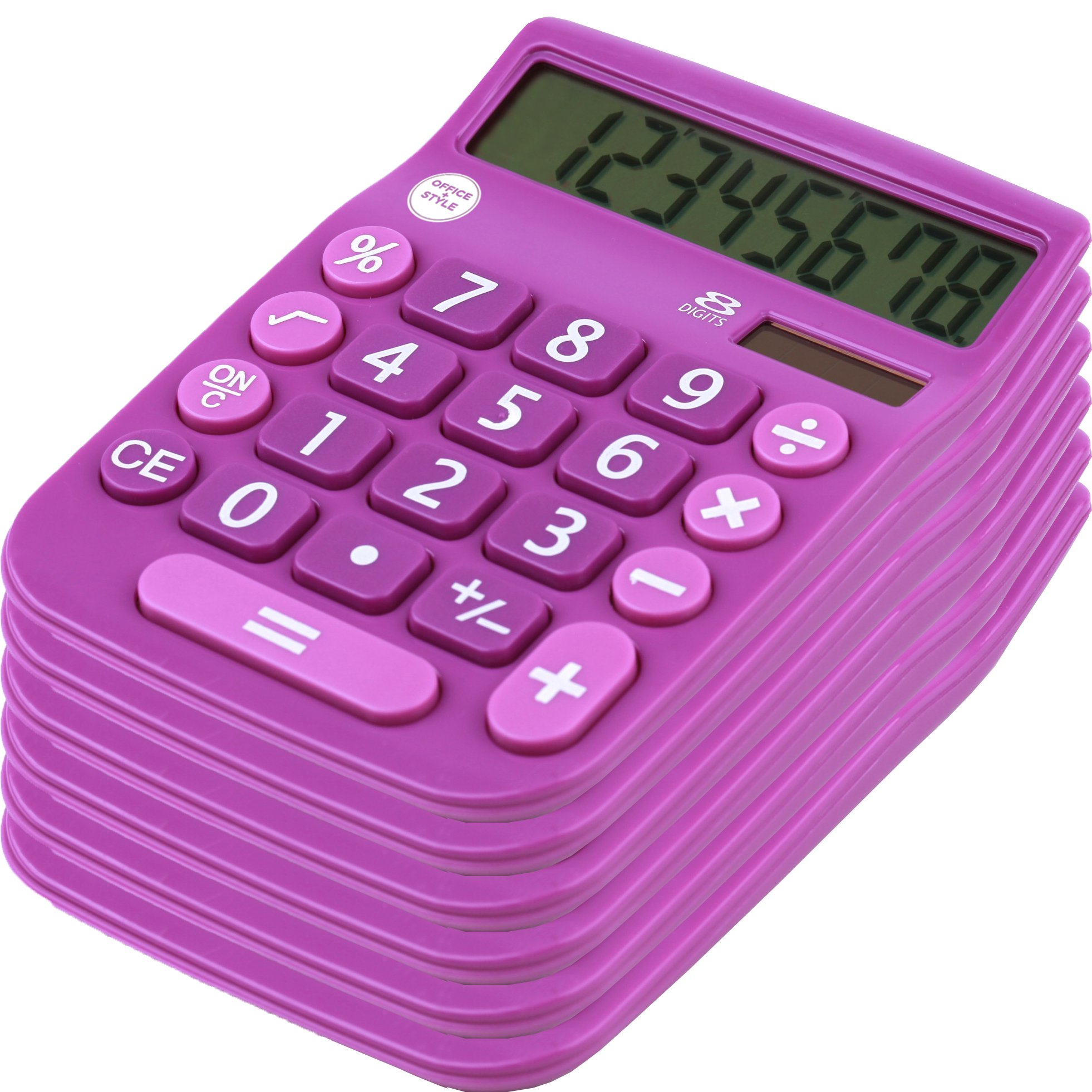 8 Digit Dual Powered Desktop Calculator,Large LCD Display, Lavender (Pack Of 6), by Office + Style by Office Style