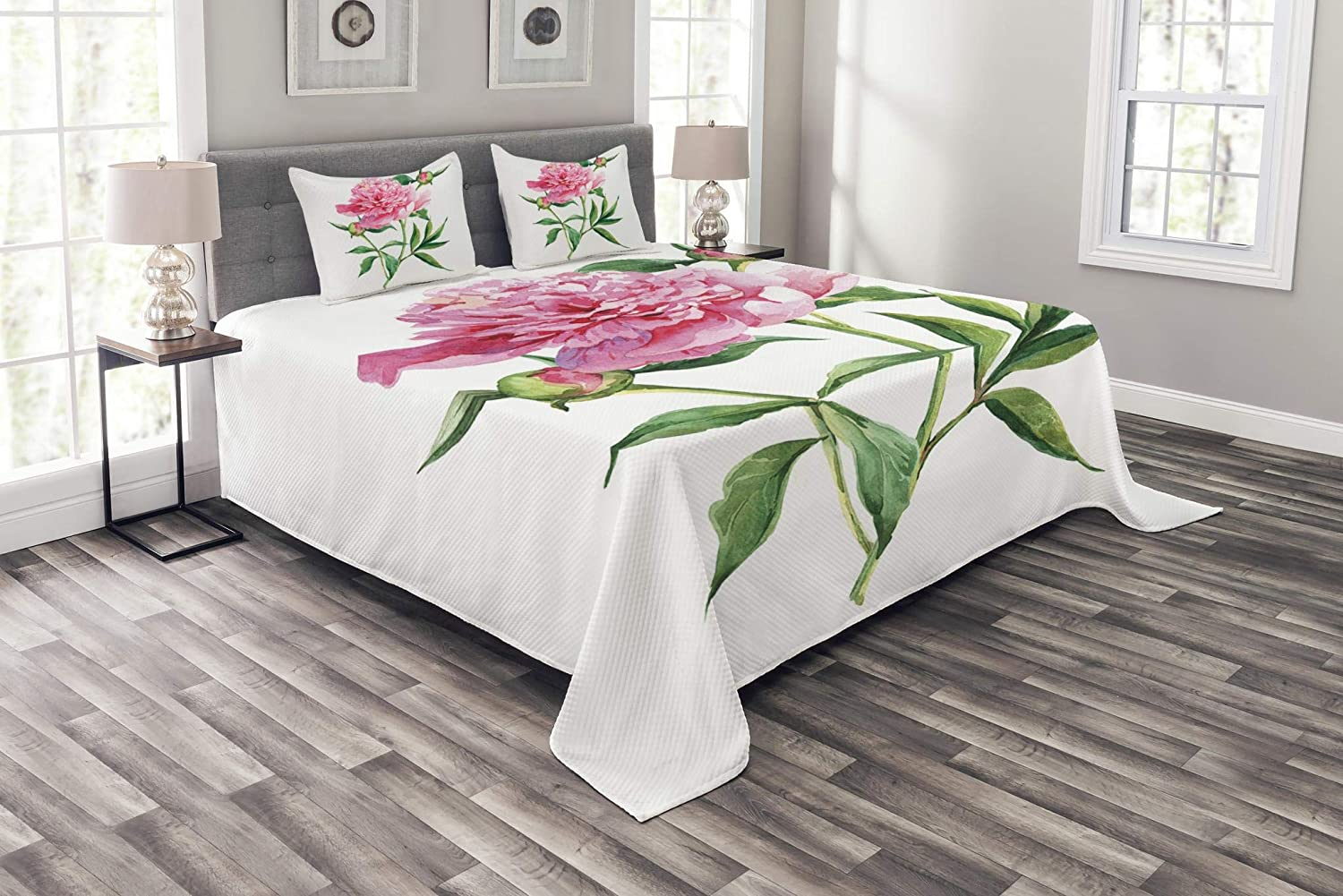 Ambesonne Watercolor Flower Bedspread, Vintage Peony Painting Botanical Spring Garden Flower Nature Theme, Decorative Quilted 3 Piece Coverlet Set with 2 Pillow Shams, Queen Size, Pink White