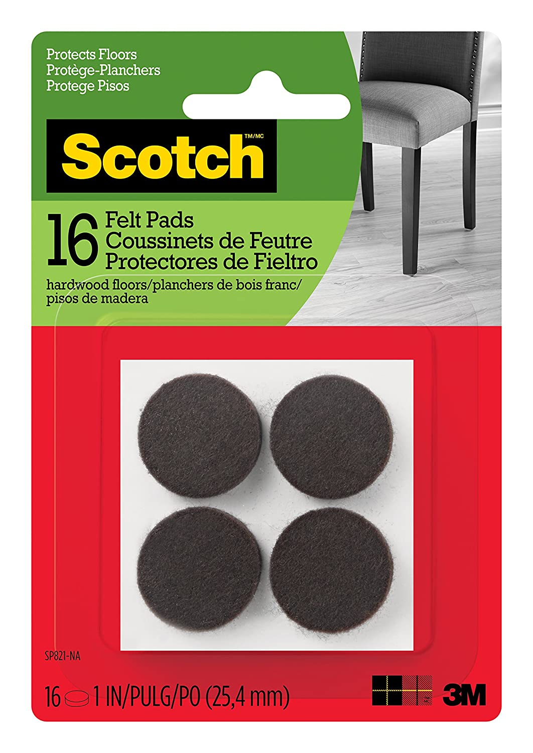 Scotch Brand SP821-NA Scotch Felt Pads Round, 1 in. Diameter, Brown, 16/Pack,