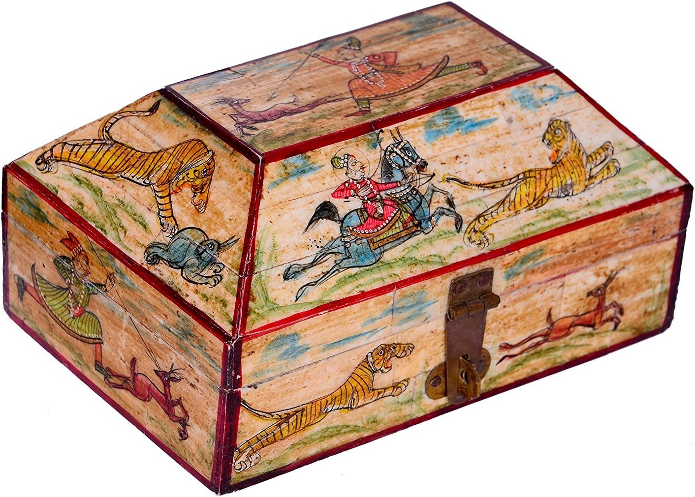 purpledip Bone Cubierta pintado caja de madera para guardar joyas ...