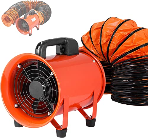OrangeA Utility Blower 8 Inch 3300 RPM Portable Ventilator High Velocity Utility Blower Fan Exhaust Axial Hose Fan with 10M Vinyl Hose 8 Inch 10M