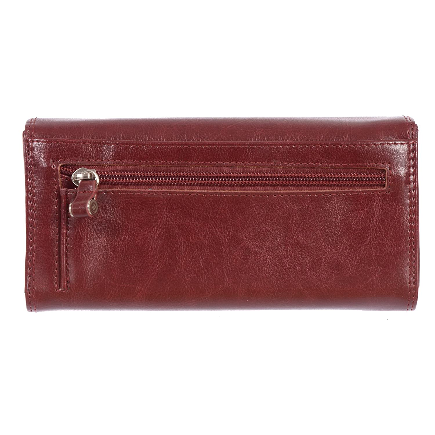 Club Rochelier Womens Clutch and Checkbook Wallet Mahogany