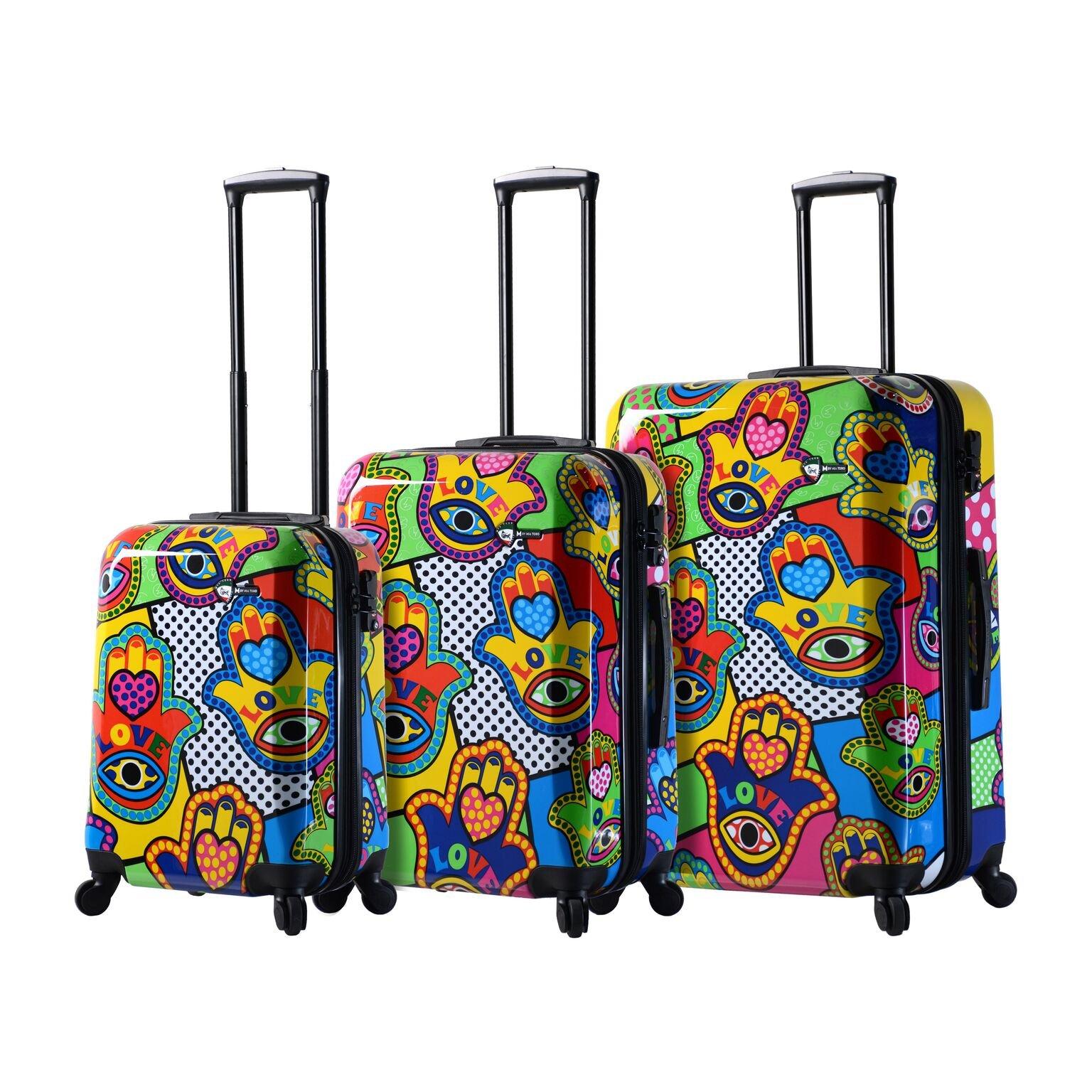 Mia Toro Italy Hamsa Love Multicolor Hard Side Spinner Luggage 3pc Set, Multi