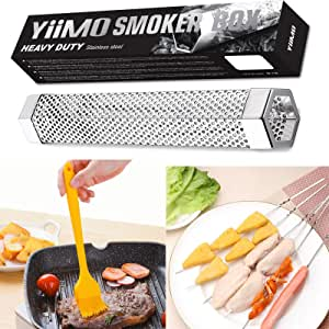 Smoke Tube for Pellets, YiiMO 12'' Pellet Smoker Up to 6Hrs of Cold Hot Smoking, Brush n Meat Sticks, Portable Hexagon Fits All Electric Gas Charcoal Grill Wood Billowing Smokers