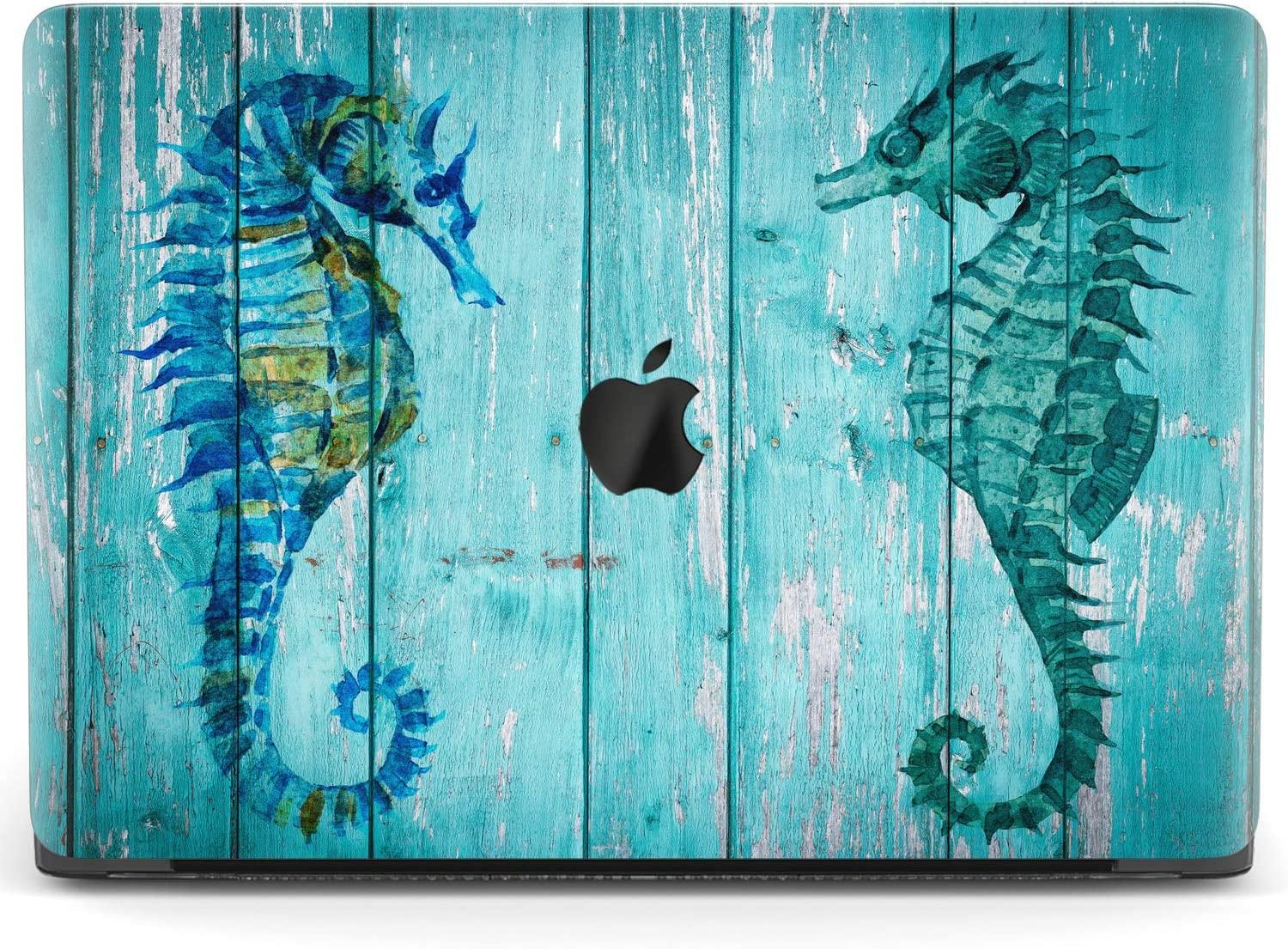 Mertak Hard Case for Apple MacBook Pro 16 Air 13 inch Mac 15 Retina 12 11 2020 2019 2018 2017 Shell Nautical Cover Design Wood Touch Bar Print Blue Ocean Seahorse Laptop Sea Fish Protective Girly