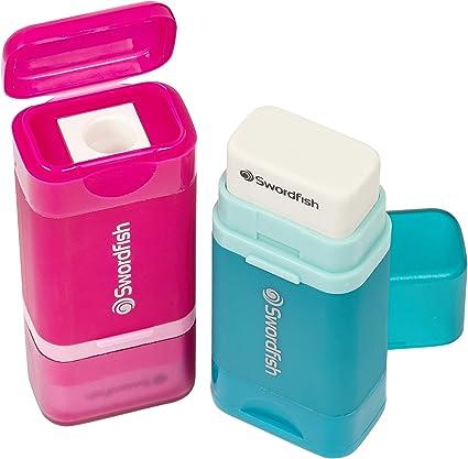 Swordfish Combo - Sacapuntas y goma 2 en 1, color negro/azul/rosa/azul turquesa pack de 24: Amazon.es: Oficina y papelería