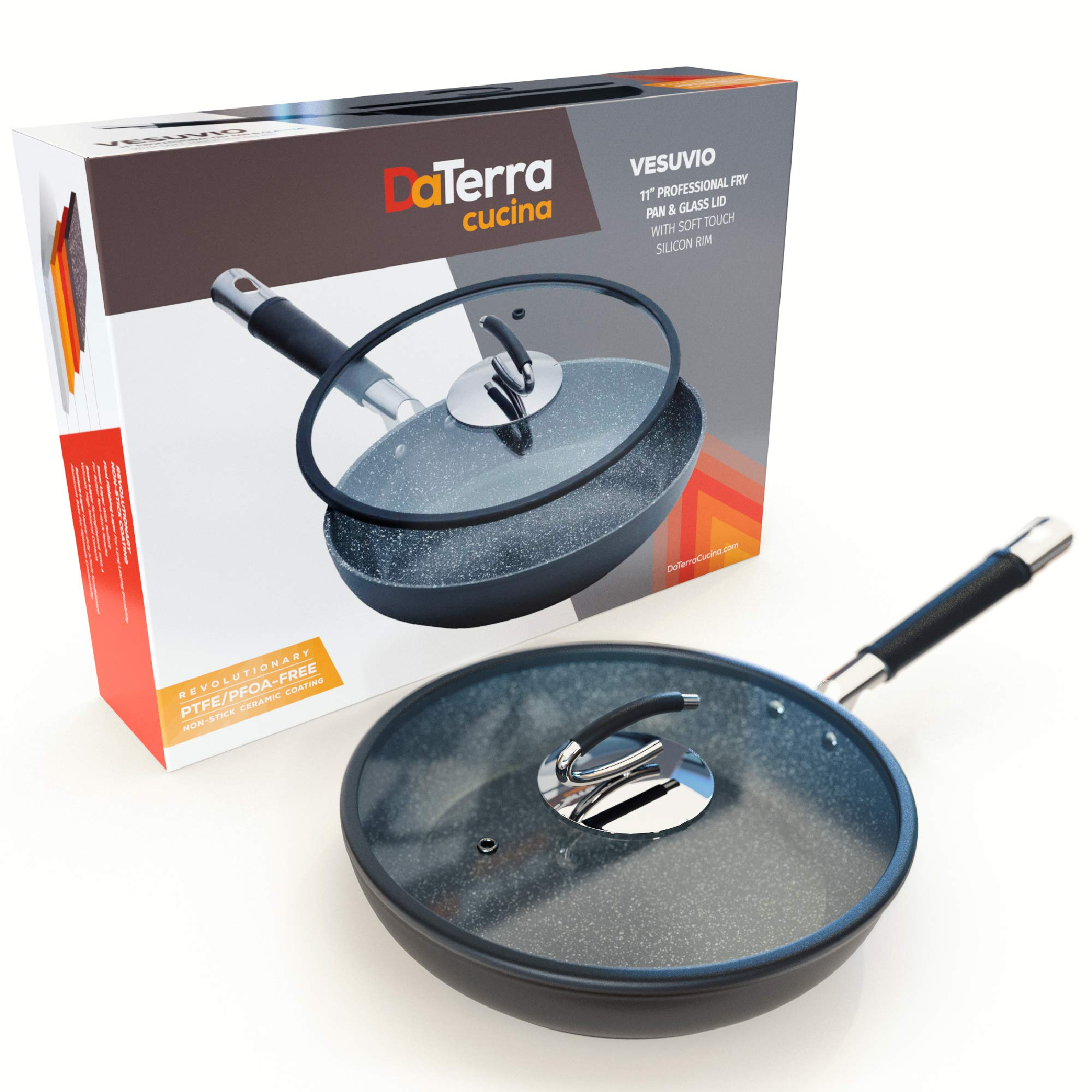[UPGRADED] Ceramic Pan with Natural Nonstick Coating | Cook Effortlessly on Glasstop, Electric & Propane Stoves with No PTFE, Cadmium, Lead or PFOA Chemicals | Lid Included- By DaTerra Cucina by DaTerra Cucina