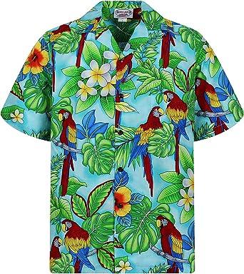 Pacific Legend | Original Camisa Hawaiana | Caballeros | S - 4XL | Manga Corta | Bolsillo Delantero | Estampado Hawaiano | Loros | Turquesa: Amazon.es: Ropa y accesorios