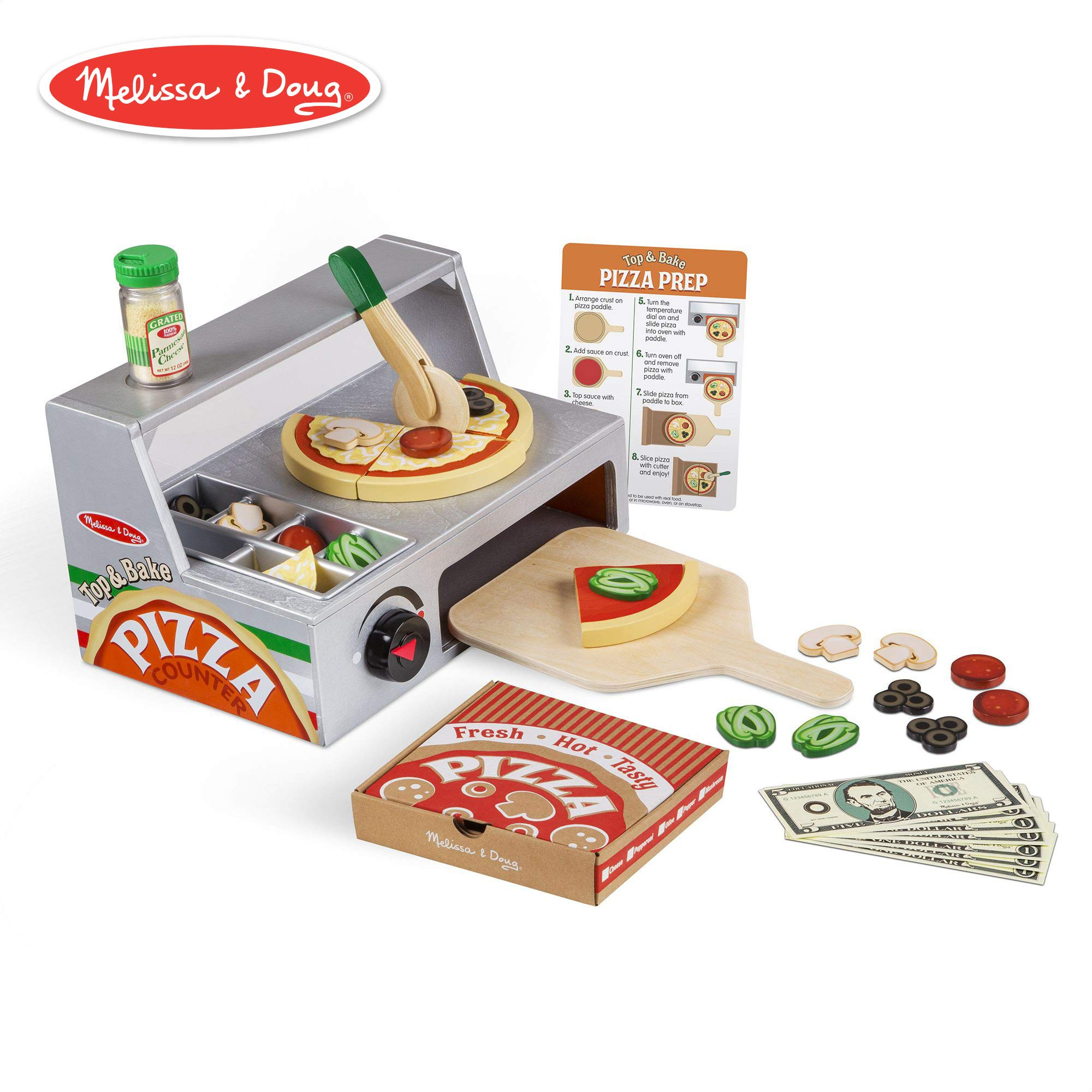 Melissa & Doug Top and Bake Wooden Pizza Counter Play Food Set (Pretend Play, Helps Support Cognitive Development, 34 Pieces, 7.75'' H x 9.25'' W x 13.25'' L)
