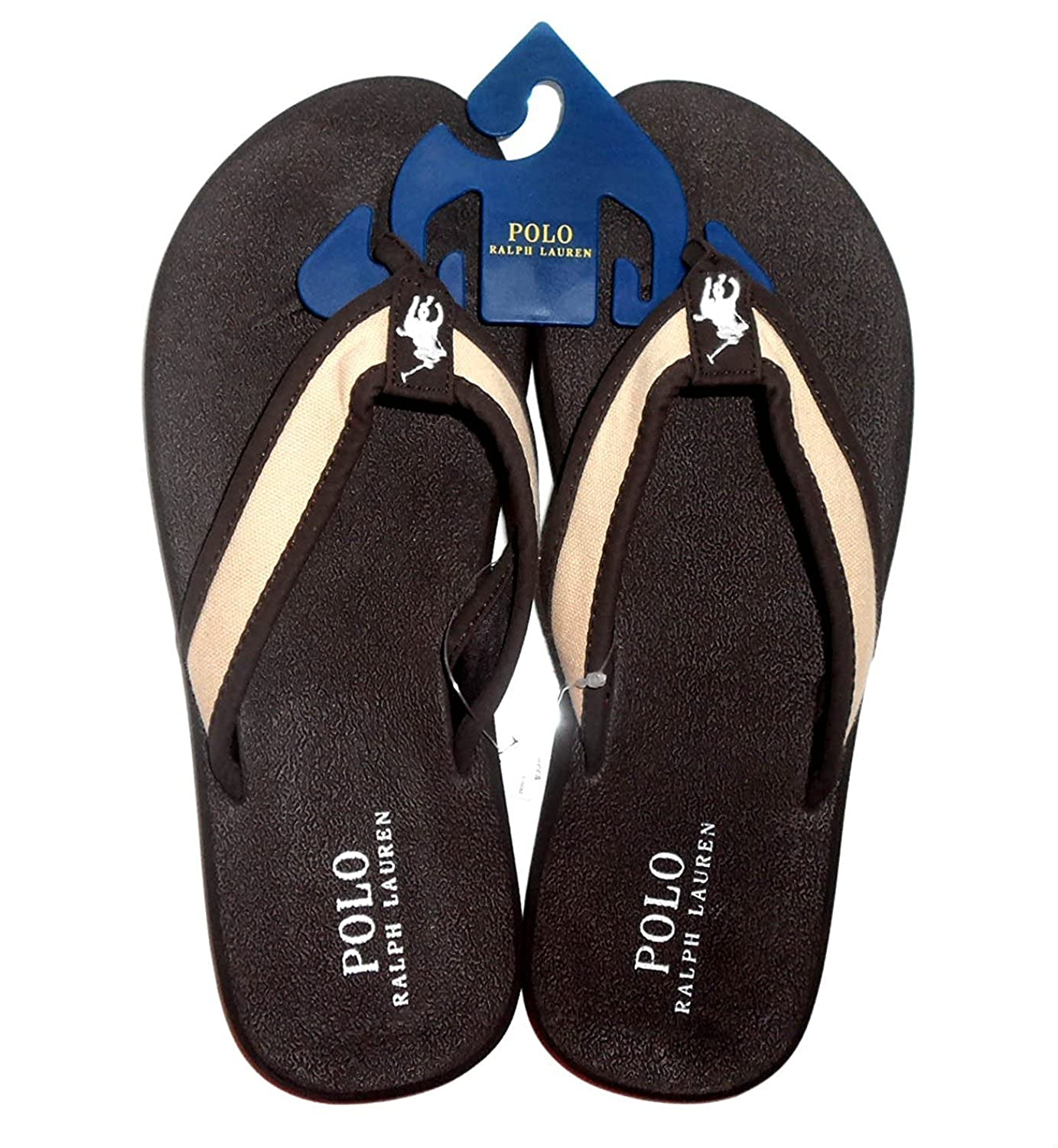 67b25c22e8b6b Polo Ralph Lauren Almer II Mens Flip Flop Sandals Dark Brown Khaki 12 D   Amazon.ca  Shoes   Handbags