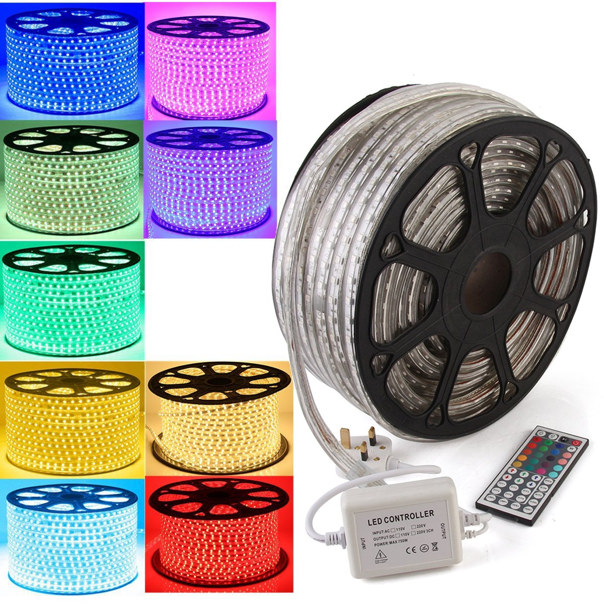 GreenSun LED Lighting Waterproof 20M RGB LED Strip Light, 5050 SMD Flexible LED Ribbon Decorative Light with 44 Key IR Remote Controller for Garden, Home, Kitchen, Bar, DIY Party, Christmas