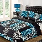 Dreamscene Kruger Animal Print Duvet Bedding Set With Pillowcases, Teal, Double