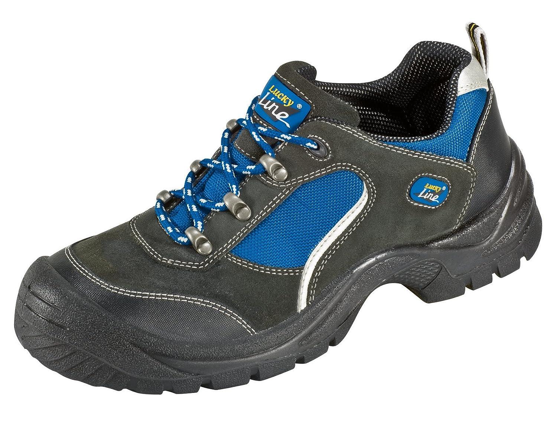 S1 'Gö hren' - Zapato de Seguridad con Aspecto de Deportiva de Piel de Gamuza con Tapa de Acero con Suela Antideslizante PUR - negro / azul, 43 31161