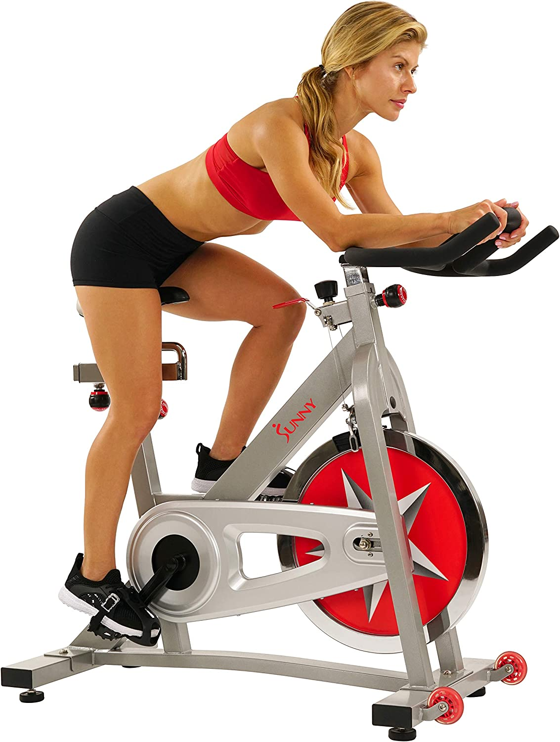 Sunny Health & Fitness Pro Indoor Cycling Bike with 40 LB Chromed Flywheel