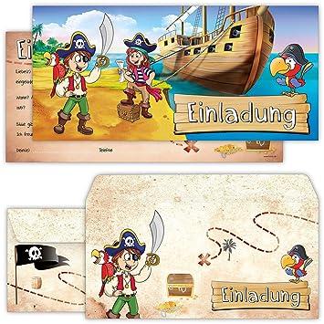 Piraten Einladungskarten Mit Umschlägen (12er Set) Zum Kindergeburtstag Von  BeriluDesign | Schatz Karte