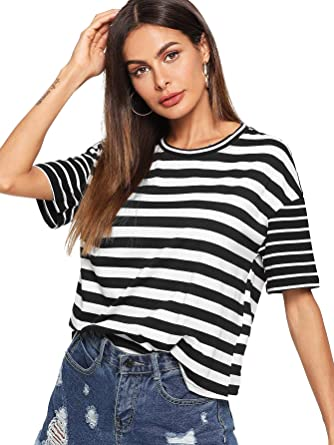 bd99ae0ac683 ROMWE Women s Mixed Stripe Short Sleeve T-shirt Color Block Casual Top  Blouse  Black