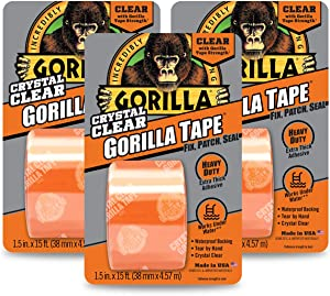 """Gorilla Crystal Clear Duct Tape, 1.88"""" x 5 yd, Clear, (Pack of 3)"""