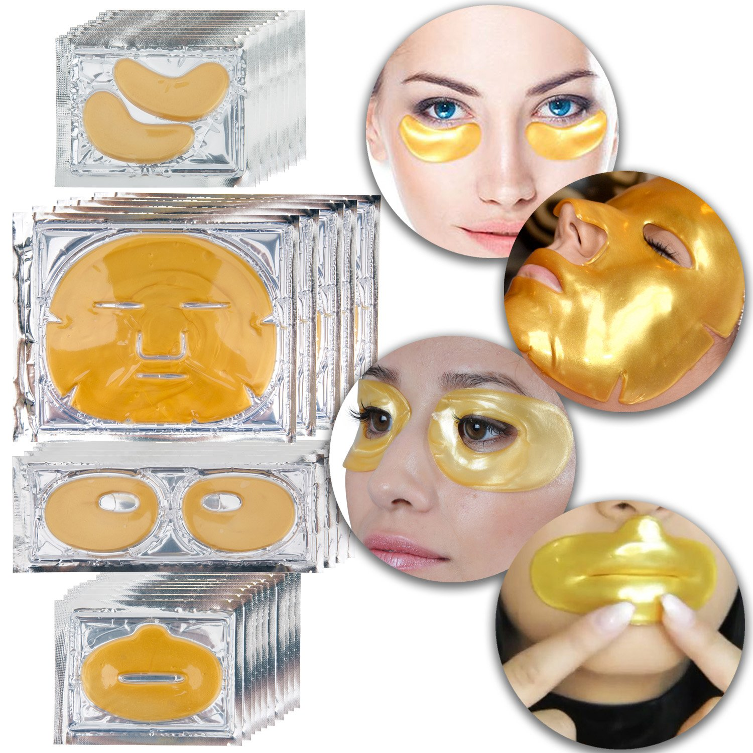 Anti Aging Set Kit Lot of 24 K Gold Golden Collagen Gel Crystal Masks Patches Sheets for Face, Lips, Eyes, Eyelids Fine Lines and Wrinkles Removal, Moisturizing Hydration, Skin Firming and Nourishing VAGA