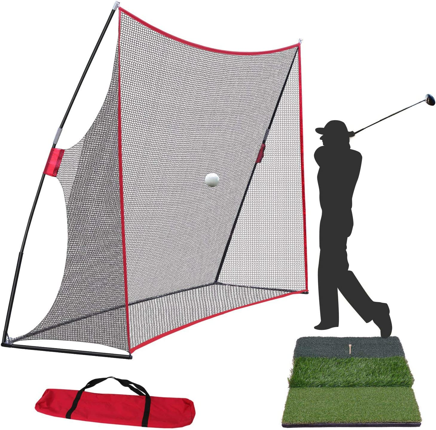 Smartxchoices Golf Net and Mat Bundle – 10x7ft Golf Net with Frame Tri-Turf Hitting Mat with Carry Bag for Golf Practice Pitching Training Driving Backyard Indoor Outdoor