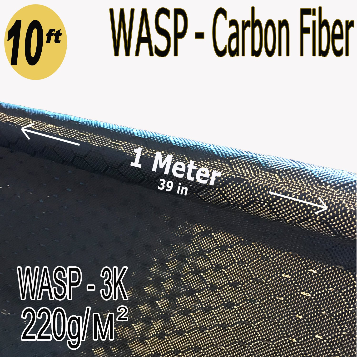 39 in x 10 FT - WASP - Carbon Fiber Fabric - Wasp Weave-3K - 220g-Black
