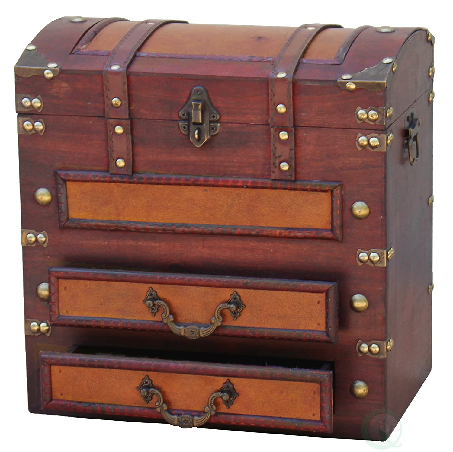 Suitcase With Drawers Amazoncom Vintiquewisetm Decorative Wooden Storage Chest With