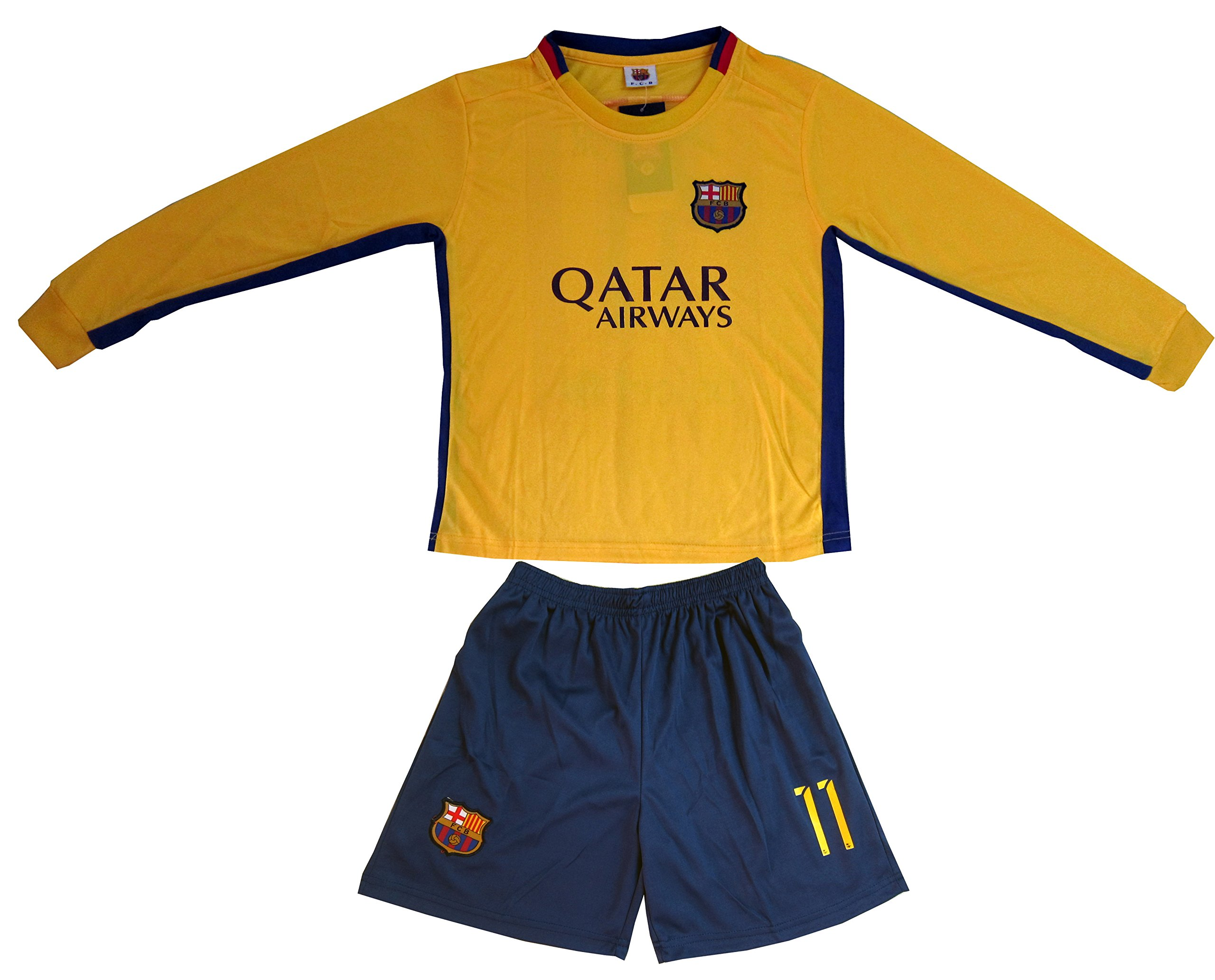 ac00332e9 Galleon - 2015 2016 BARCELONA  11 NEYMAR JR KIDS AWAY LONG SLEEVE SOCCER  JERSEY   SHORTS YOUTH SIZES (M (Ages 6-7))