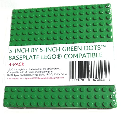 Amazon.com: 5-Inch By 5-Inch Green Dots Baseplate Lego-Compatible ...