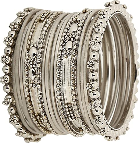 d267f960b9014 Embroco Antique Look Silver Plated Bangle Set for Women  Amazon.in   Jewellery
