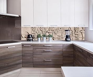 Küchenrückwand Hieroglyphenschnitzereien an der Wand ...