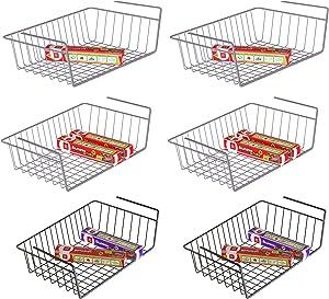 Under Shelf Basket, iSPECLE 6 Pack Wire Rack, Slides Under Shelves For Storage, Easy to Install Grey Black