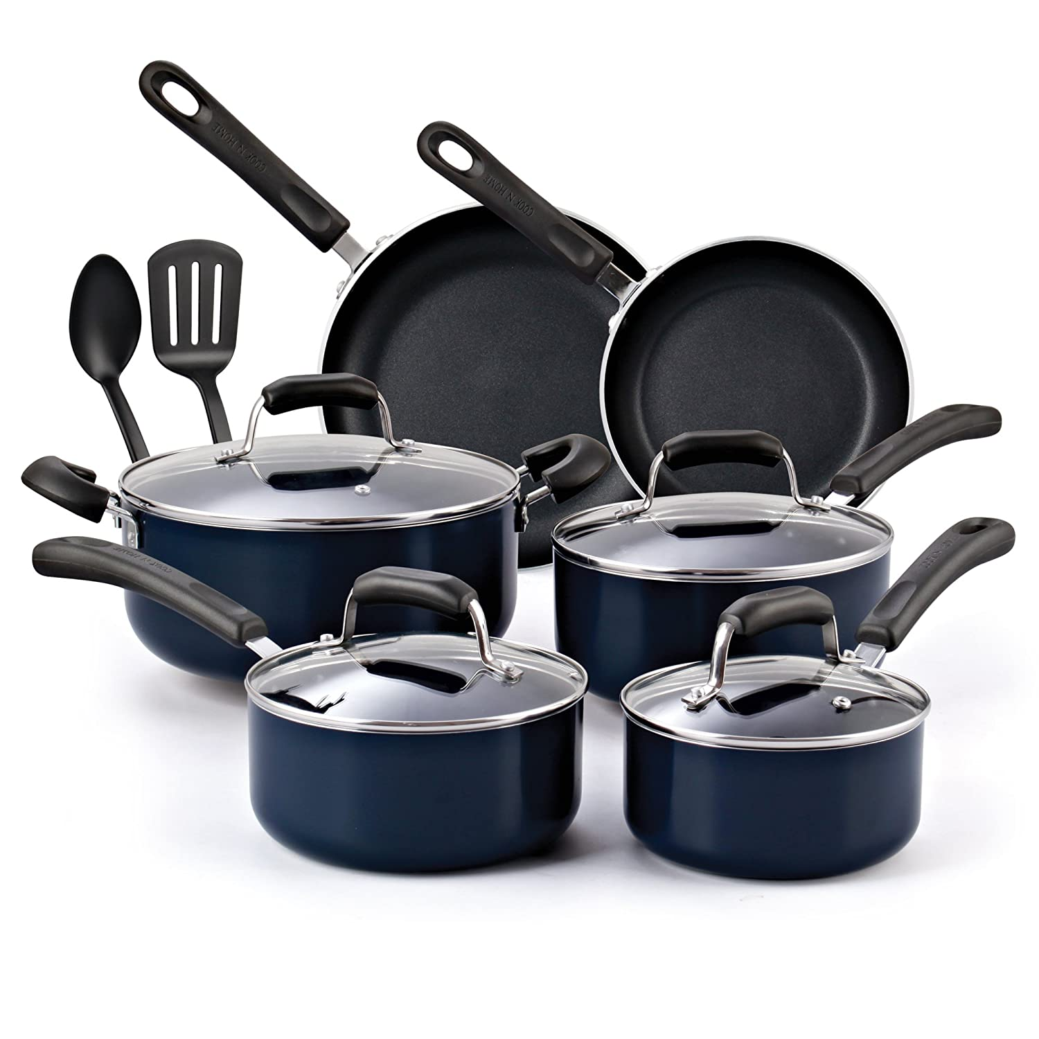 Cook N Home 12-Piece Nonstick Stay Cool Handle Cookware Set, Blue 02517