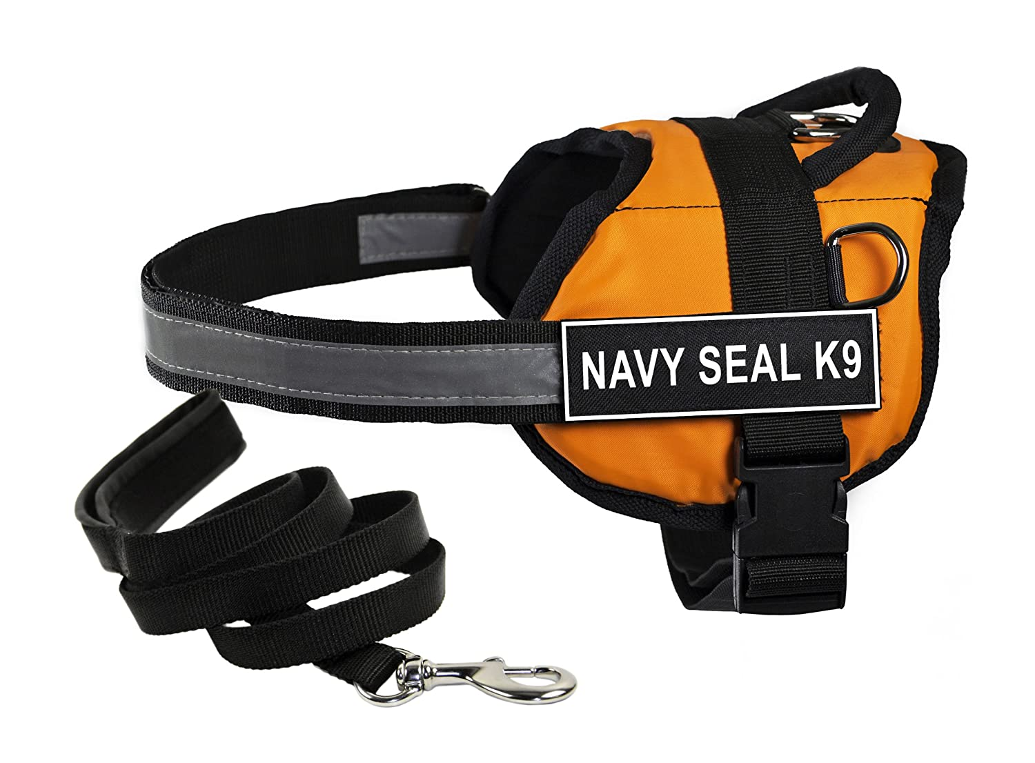 Dean & Tyler's DT Works orange NAVY SEAL K9 Harness with Chest Padding, Small, and Black 6 ft Padded Puppy Leash.