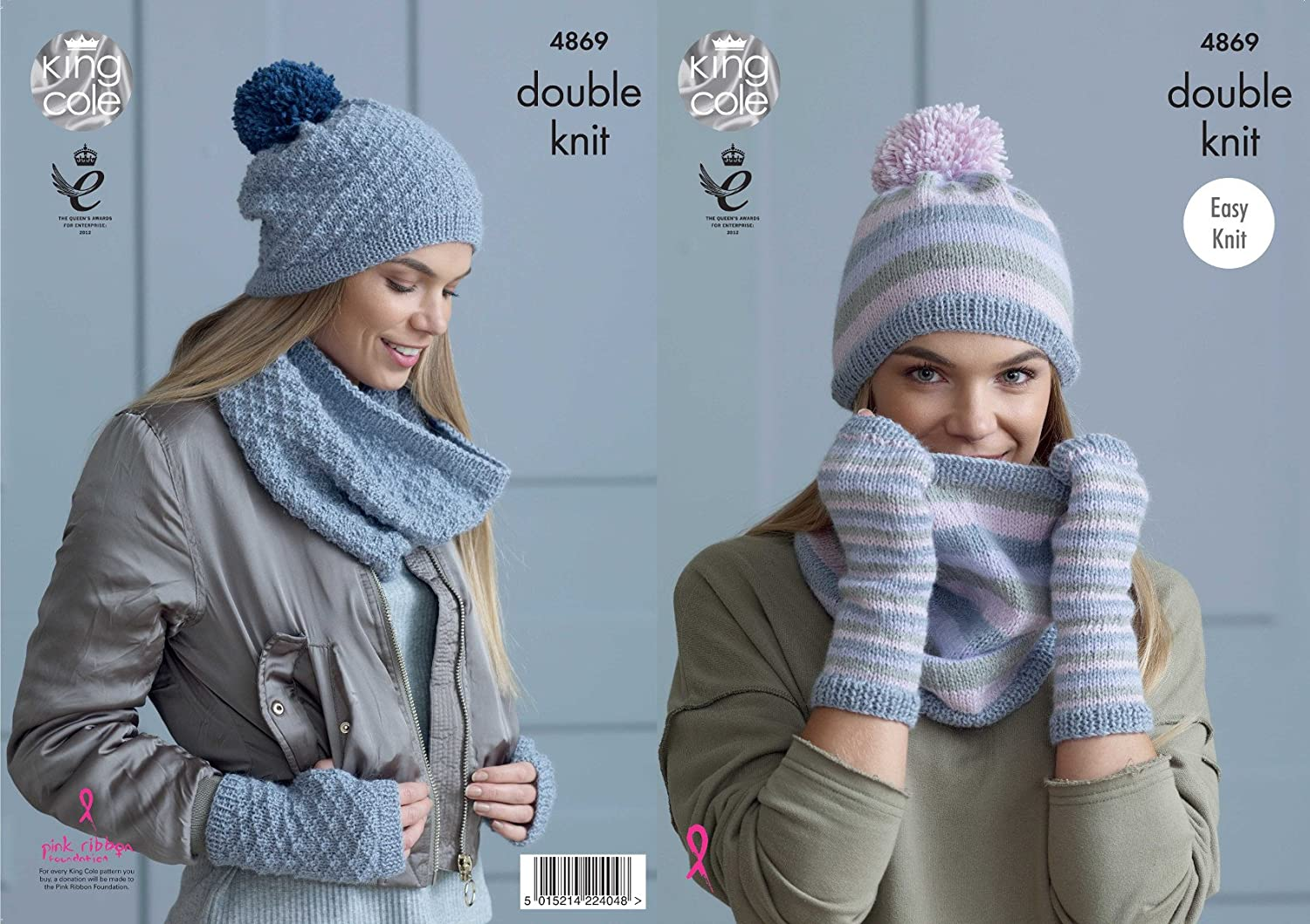 King Cole Ladies Double Knitting Pattern Easy Knit Womens Snoods Hats & Mitts (4869)