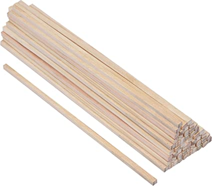 Belle Vous Wooden Sticks 50 Pack 30cm X 6mm Unfinished Natural Square Wooden Dowel Rods Craft
