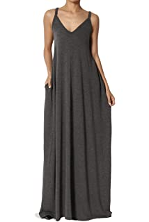 7a9e4b51c48 TheMogan Casual Beach V-Neck Draped Soft Jersey Cami Long Maxi Dress with  Pocket