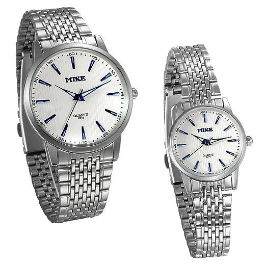JewelryWe 2pcs Relojes para Parejas Enamorados, Reloj Cuarzo Analogico Correa de Acero Inoxidable Plateado Punteros Noctilucentes Azul, Buen Regalo de ...