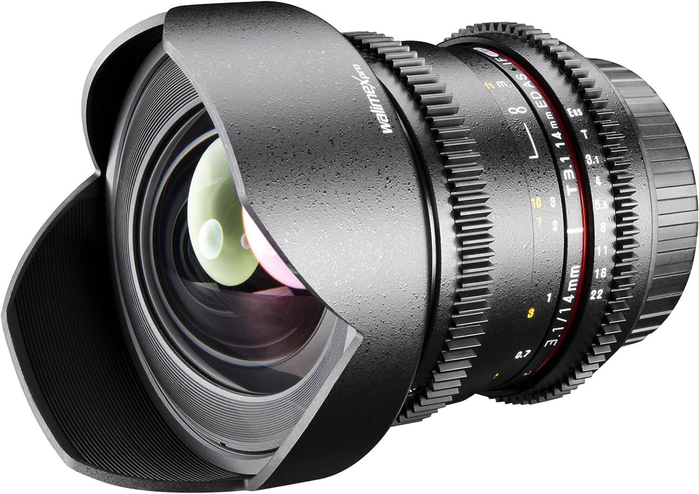 Walimex Pro 14 mm, 1:3,1 para Montura de c/ámaras r/éflex Nikon Objetivo con Parasol
