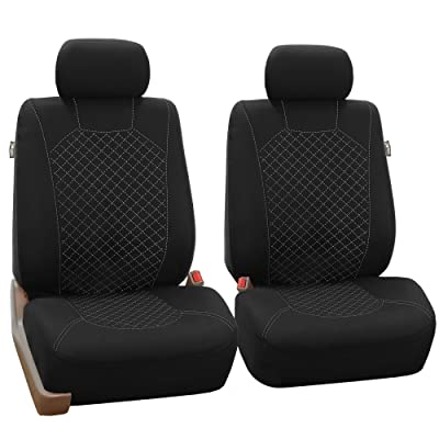 FH Group FB066WHITE102 White Fabric Cloth Seat Cover Front with Ornate Diamond Stitching, Set of 2 (Airbag Compatible): Automotive