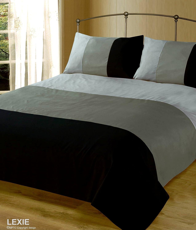 King Size Duvet / Quilt Cover Bedding Set Lexie Black / Grey Plain ... : plain quilt covers - Adamdwight.com