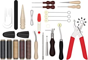 Leather Tool Kit Bundled with a Leather Hole Punch Set – Leather Working Tools – 32-PC Leather Stitching Kit Complete with Sewing Supplies and Accessories