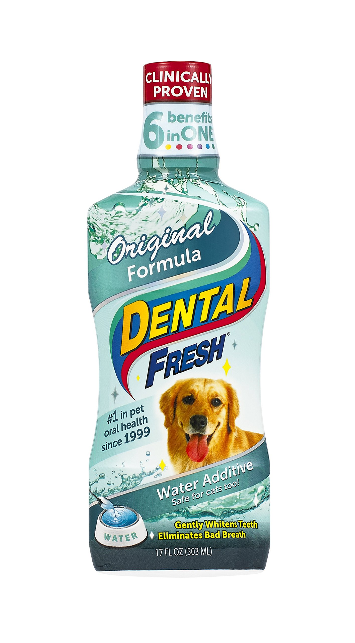 Dental Fresh Water Additive – Original Formula For Dogs – Clinicially Proven, Simply Add to Pet's Water Bowl to Whiten Teeth, Eliminate Bad Breath, and Improve Oral Health (17 oz)