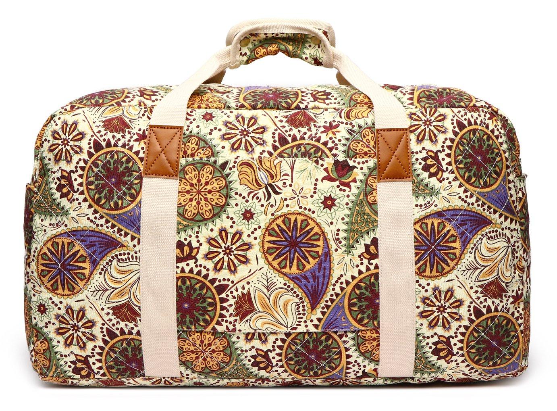Malirona Canvas Weekender Bag Travel Duffel Bag for Weekend Overnight Trip (Yellow Flower) by Malirona (Image #3)